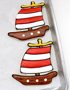 how to decorate a pirate ship cookie