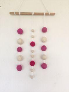 Felt Wall Hanging, Wall Hangings, Girl Room, Wool Felt, Kids Girls, Nursery Decor, Pink White, Drop Earrings, Wall Art
