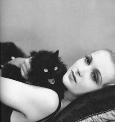 Carole Lombard and her creepy-ass cat!