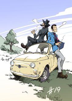 lupin the third Manga Art, Manga Anime, Anime Art, Studio Ghibli, Lupin The Third, Gundam Art, Ghibli Movies, Car Illustration, Drawing Reference Poses