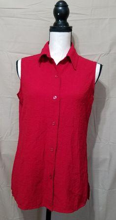 WHITE STAG Red Sleeveless Button Down Stretch Shirt Womens M EUC FREE SHIPPING #WhiteStag #ButtonDownShirt #Casual