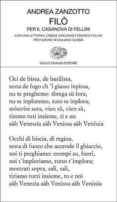 Andrea Zanzotto, Filò. Per il Casanova di Fellini, Collezione di poesia