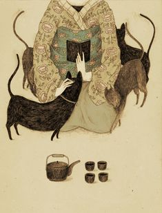 japanese girl reading with cats