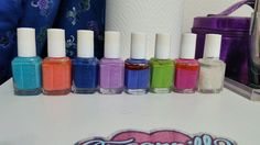 Essies $3 each  I'm Addicted, Serial Shopper, Bouncer It's Me, Sittin' Pretty, Chills & Thrills, Vices Versa, Too Taboo, and Sparkle on Top