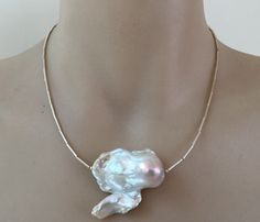 Flameball Pearl Necklace #makeforgood - huge baroque nucleated freshwater pearl sterling silver tube beads and clasp OOAK necklace - pinned by pin4etsy.com
