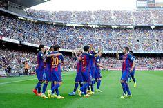 C Barcelona players celebrate the Luis Suárez gosl during the Spanish League…