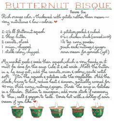 Butternut Bisque recipe by Susan Branch Old Recipes, Vintage Recipes, Recipies, Cake Recipes, Susan Branch Blog, Homemade Chicken Stock, Bisque Recipe, Recipe Scrapbook, Soup Kitchen