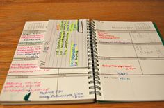 Note card organization system for busy weeks.