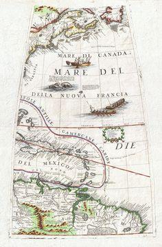 1688 Coronelli Globe Gore Mapa de NE América do Norte, as Índias Ocidentais, e NE América do Sul - Geographicus - NEAmericaGore-Coronelli-1688.jpg