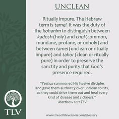 TLV Glossary Word of the Day: Unclean #tlvbible