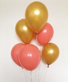 gold and coral party balloons!