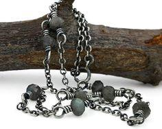 Wire Wrap Necklace labradorite & sterling silver bohemian
