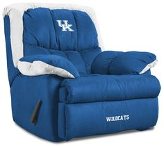 Kentucky Wildcats Home Team Recliner in UK Blue and White.... Another basement gameroom must have!!