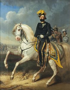 ca. 1860 - An equestrian portrait of the gay King Charles XV, painted by Carl Fredrik Kiörboe