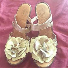 Born Gold Heels Born Gold Heels   for those that want to be stylish BUT comfortable too WELL these are your shoes . Size 7 worn couple times. Born Shoes Heels