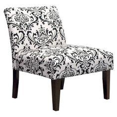 Avington Armless Slipper Chair - Black/White Floral