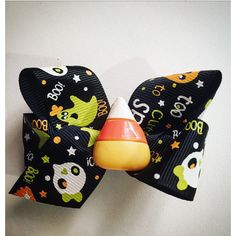 Candy Corn Bow Halloween Bow Halloween Hair Bow ($15) ❤ liked on Polyvore featuring accessories, hair accessories, barrettes & clips, dark olive, bow hair accessories, hair clip accessories, barrette hair clips, ribbon hair bows and ribbon hair clips