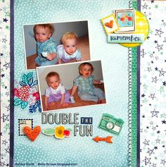 "Bella Scraps: Double the Fun Layout - Amy Tangerine ""Better Together"" Collection"