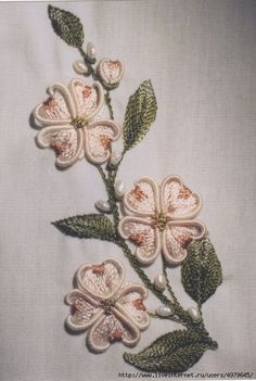 Wonderful Ribbon Embroidery Flowers by Hand Ideas. Enchanting Ribbon Embroidery Flowers by Hand Ideas. Brazilian Embroidery Stitches, Types Of Embroidery, Rose Embroidery, Silk Ribbon Embroidery, Embroidery Thread, Cross Stitch Embroidery, Hungarian Embroidery, Japanese Embroidery, Machine Embroidery