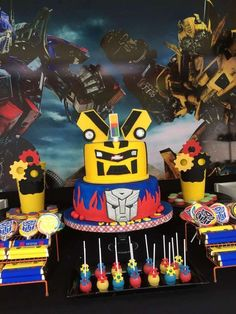 Check out this awesome Transformers Birthday Party! The birthday cake is incredible!! See more party ideas and share yours at CatchMyParty.com