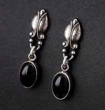 GEORG JENSEN Sterling Silver Earrings  #17 w. Black Agate. Design: GJ himself.