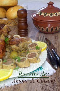 tajine de champignon et roulé de poulet a la viande