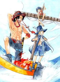 Ace, Luffy, and Sabo if they had left the island once, together. < Then…