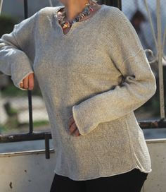 Simple linen hand-knitted sweater