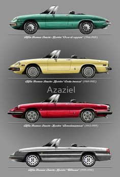 'Alfa Romeo Evolution of Duetto Spider' Art Print by Azaziel – Classic Cars Alfa Romeo Gtv 2000, Alfa Romeo Cars, Alfa Romeo Giulia, Alfa Romeo Spider, Maserati, Ferrari, Lamborghini, Audi Tt, Ford Gt