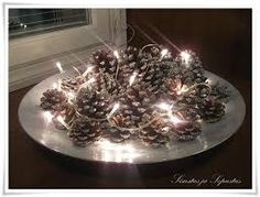Pine cones w/ light Seasonal Decor, Holiday Decor, Christmas Centerpieces, Christmas Time, Christmas Things, Pine Cones, Hygge, Wedding Planning, Dream Wedding