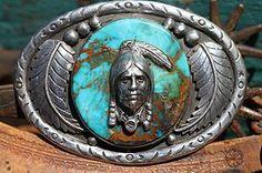 Vintage Signed Southwestern Sterling Silver Royston Turquoise Belt Buckle | eBay