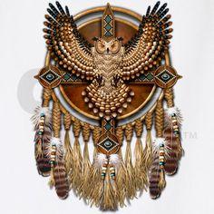 Native American Mandalas   Native American Owl Mandala 1 Apron by naumaddicarts