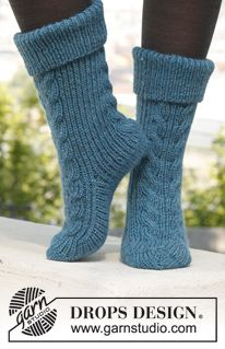 """Stairway to Heaven - Knitted DROPS slipper socks with cables and rib in """"Alaska"""". Size 35 - - Free pattern by DROPS Design Crochet Socks, Knitted Slippers, Slipper Socks, Knitting Socks, Knit Crochet, Knitting Patterns Free, Knit Patterns, Free Knitting, Free Pattern"""