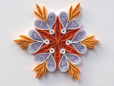 Snowflakes Orange White Christmas Tree Decor Winter Ornaments Gift Toppers Fillers Office Corporate Paper Quilling Quilled Handmade Art This is a unique handmade quilled snowflake! Amazing Christmas gift for Your loved ones and suitable for all winter occasions. You can hang it on