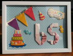 Geld cadeau geven, net even wat anders; fotolijstje en stickers van action. Geld vouwen in leeftijd. ©Mariekevis San Ivo, Arts And Crafts, Diy Crafts, Scrapbooks, Birthday Gifts, Birthdays, Presents, Crafty, Money
