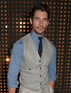 David Gandy at the Oliver Spencer show during London Collections Men SS16 at The Old Sorting Office on June 13, 2015.