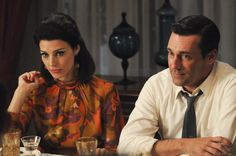 Pin for Later: The Bold Costumes on Mad Men Are the Reason Why We Already Miss the Show Season 5 Megan and Don Draper