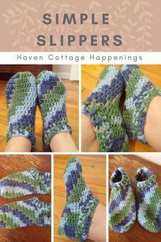 simple crochet slippers- free pattern