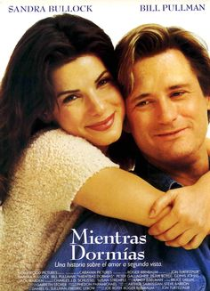 While You Were Sleeping Sandra Bullock, Bill Pullman, Peter Gallagher. Sandra Bullock plays a transit worker who pulls a commuter off the tracks after he's mugged. While he's comatose, his family wrongly assumes she's his fiancee and she doesn't co Best Romantic Comedies, Romantic Movies, Romantic Poetry, Old Movies, Great Movies, Girly Movies, See Movie, Movie Tv, Movies Showing