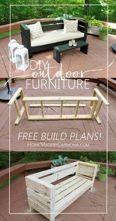 Planos Gratis de cómo construir este sofá al aire libre y mesa/banco de café