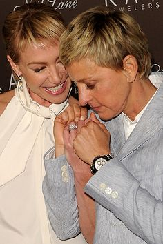 Ellen DeGeneres and her wife, Portia de Rossi Ellen And Portia Wedding, Ellen The Generous, Ellen Degeneres And Portia, Portia De Rossi, The Ellen Show, Crazy Outfits, Lesbian Wedding, Famous Couples, Attractive People