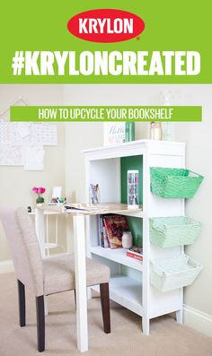 Renew your workspace for the new year with this Krylon COVERMAXX project. Click the pin to see how you can take your old bookshelf and turn it into a complete organization station with inviting color!#KrylonCreated