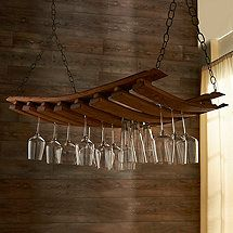 Need new stemware holder. this is pretty cool — Barrel Stave Hanging… Hanging Wine Glass Rack, Wine Glass Holder, Bar Sala, Wine Barrel Crafts, Barris, Barrel Projects, Wine Barrel Furniture, Wine Decor, Wine Storage