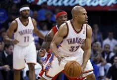 Derek Fisher made his OKC Thunder debut vs the Clippers on March 21.