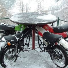 Haha! Awesome! Repurposed dirt bikes for table seating.