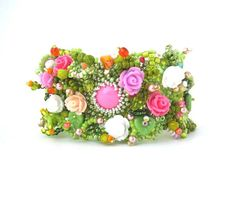 Flower bracelet Spring gift Art jewelry Beaded cuff door ibics