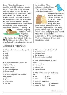 Reading Comprehension for beginner and Elementary Students 6 - English ESL Worksheets for distance learning and physical classrooms Reading Comprehension For Kids, Reading Skills, Teaching Reading, Reading Response, Comprehension Exercises, Comprehension Activities, English Worksheets For Kids, Reading Worksheets, Printable Worksheets