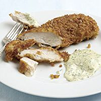 Asiago-Crusted Chicken Breasts with Mustard-Dill Dipping Sauce