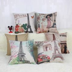 Paris Eiffel Tower RustiC Country Garden Style Thor Cushion Covers Pillow Case 45x45cm  ❤ Resellers Welcome ❤ Dropshipping Available ❤ Great as Gifts.  View more at spreesy.com/cookies