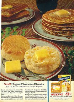 Bisquick & Fleischmann's Margarine | Flickr - Photo Sharing! Retro Recipes, Old Recipes, Vintage Recipes, Cake Recipes, Breakfast Pancakes, Breakfast Time, Breakfast Recipes, Vintage Food Posters, Vintage Ads